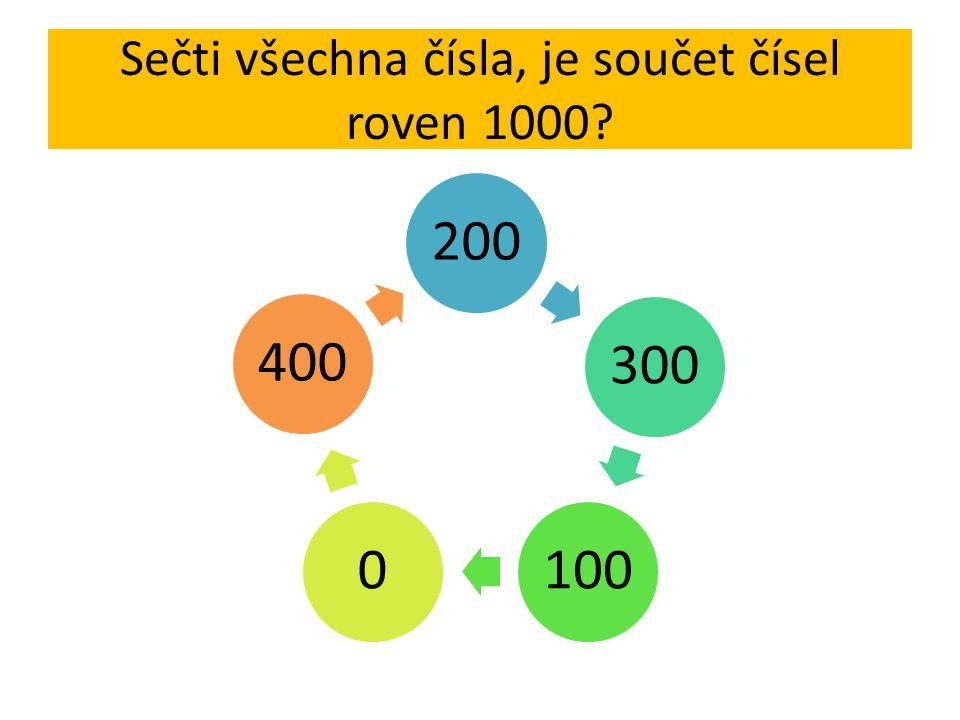 Sečti všechna čísla, je součet čísel roven 1000? 200 300 1000400