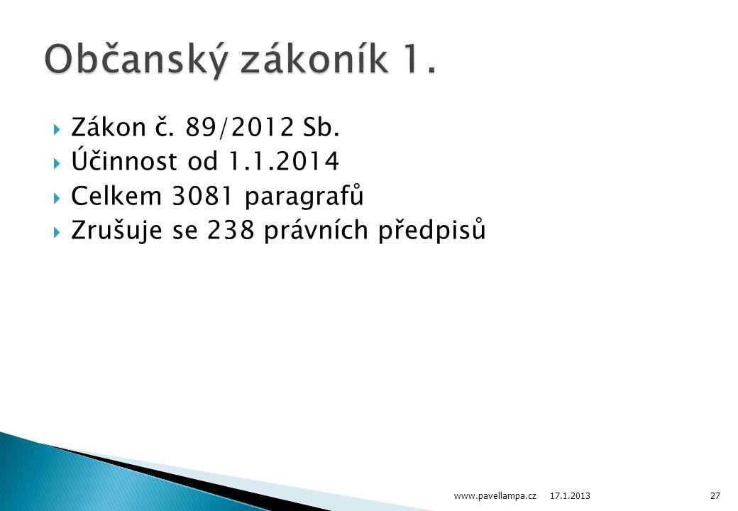  Zákon č. 89/2012 Sb.  Účinnost od 1.1.2014  Celkem 3081 paragrafů  Zrušuje se 238 právních předpisů 17.1.2013 www.pavellampa.cz27
