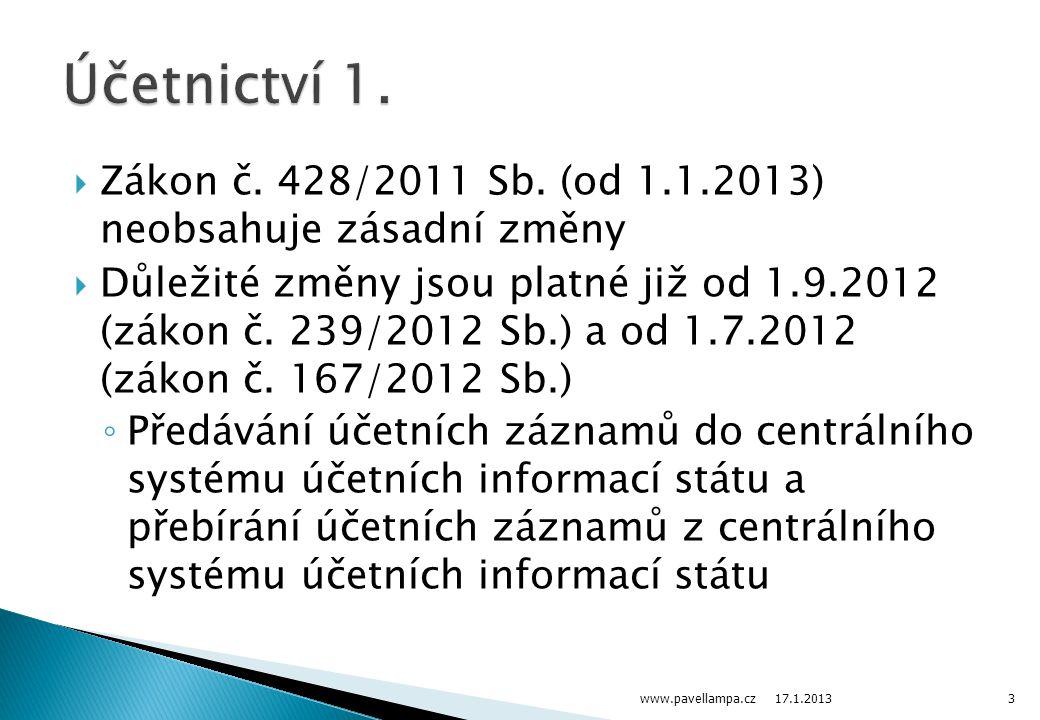  Zákon č. 428/2011 Sb. (od 1.1.2013) neobsahuje zásadní změny  Důležité změny jsou platné již od 1.9.2012 (zákon č. 239/2012 Sb.) a od 1.7.2012 (zák