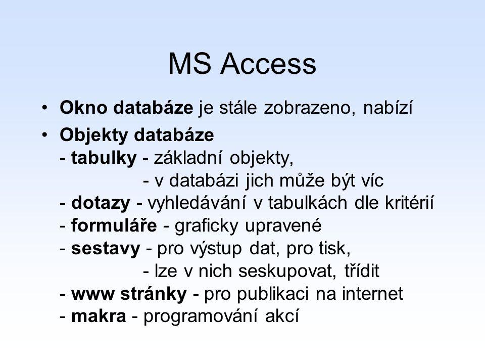 MS Access Okno databáze je stále zobrazeno, nabízí Objekty databáze - tabulky - základní objekty, - v databázi jich může být víc - dotazy - vyhledávání v tabulkách dle kritérií - formuláře - graficky upravené - sestavy - pro výstup dat, pro tisk, - lze v nich seskupovat, třídit - www stránky - pro publikaci na internet - makra - programování akcí