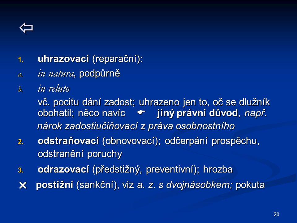 20  1.uhrazovací (reparační): a. in natura, podpůrně b.