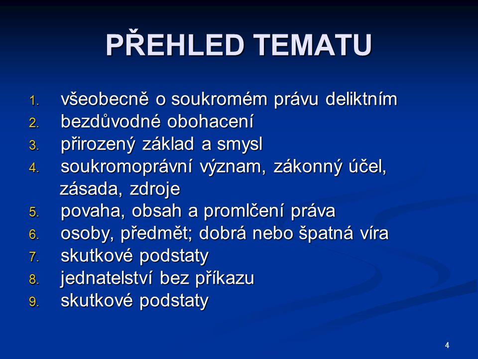 4 PŘEHLED TEMATU 1.všeobecně o soukromém právu deliktním 2.