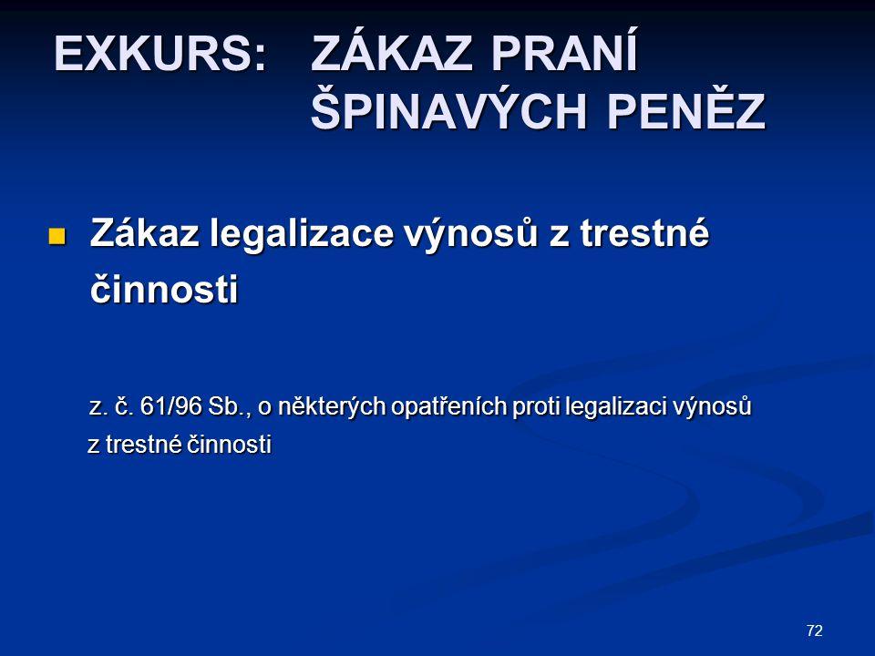72 EXKURS: ZÁKAZ PRANÍ ŠPINAVÝCH PENĚZ Zákaz legalizace výnosů z trestné Zákaz legalizace výnosů z trestné činnosti činnosti z.