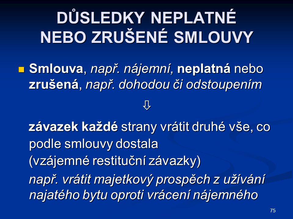 75 DŮSLEDKY NEPLATNÉ NEBO ZRUŠENÉ SMLOUVY Smlouva, např.