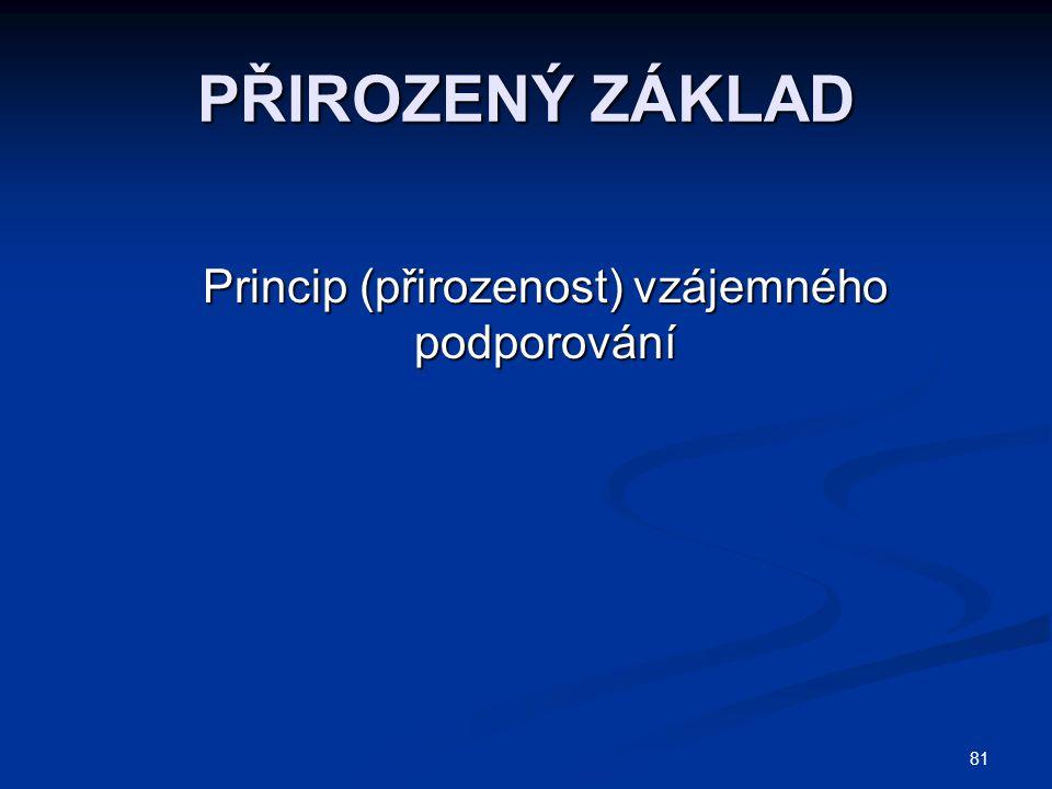 81 PŘIROZENÝ ZÁKLAD Princip (přirozenost) vzájemného podporování Princip (přirozenost) vzájemného podporování