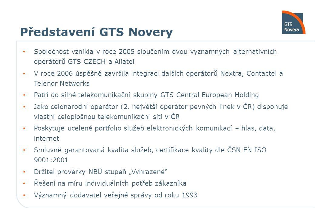 Představení GTS Novery Společnost vznikla v roce 2005 sloučením dvou významných alternativních operátorů GTS CZECH a Aliatel V roce 2006 úspěšně završila integraci dalších operátorů Nextra, Contactel a Telenor Networks Patří do silné telekomunikační skupiny GTS Central European Holding Jako celonárodní operátor (2.