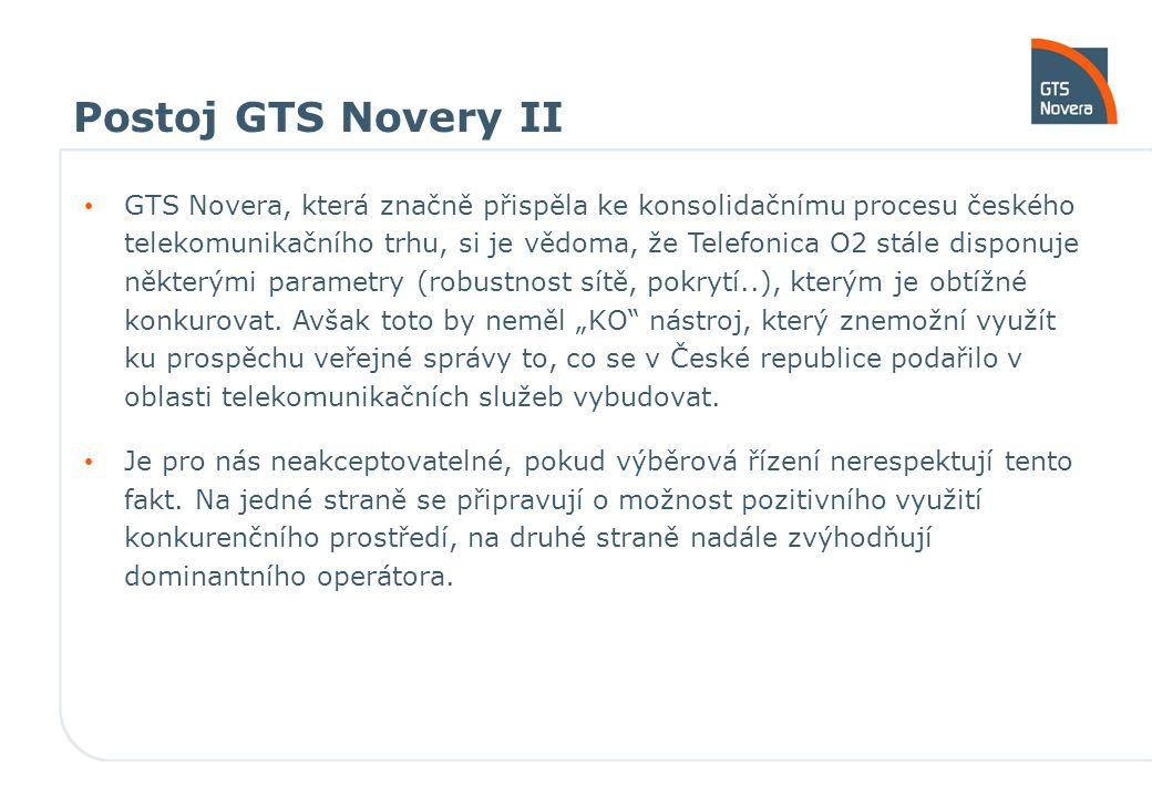 Postoj GTS Novery II GTS Novera, která značně přispěla ke konsolidačnímu procesu českého telekomunikačního trhu, si je vědoma, že Telefonica O2 stále disponuje některými parametry (robustnost sítě, pokrytí..), kterým je obtížné konkurovat.