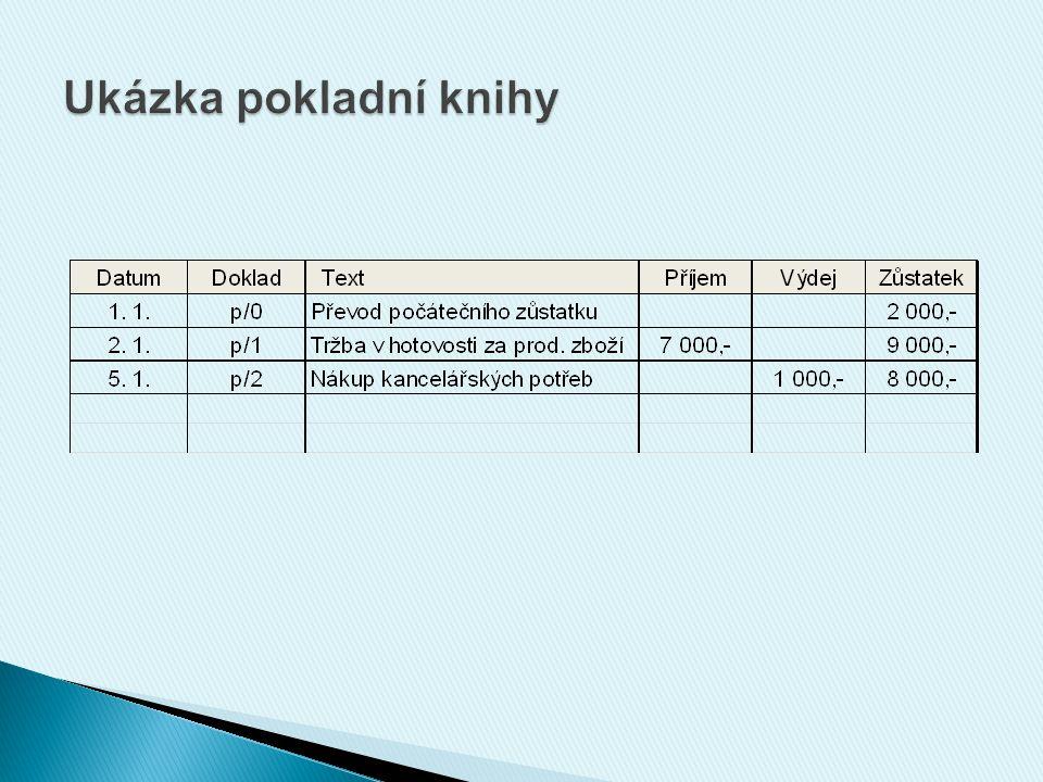 Schéma účtování: MD Pokladna D - tržby za prodané zboží,- platba za nakoupené výrobky služby - tržby za provedené- drobné nákupy v obch.