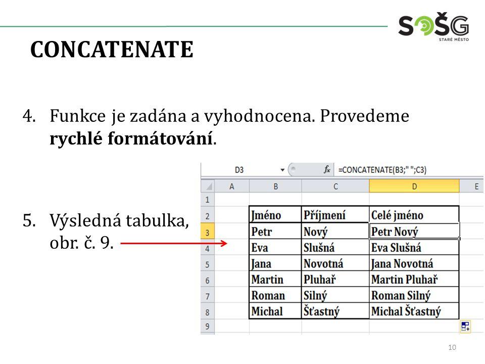 CONCATENATE 4.Funkce je zadána a vyhodnocena. Provedeme rychlé formátování. 5.Výsledná tabulka, obr. č. 9. 10