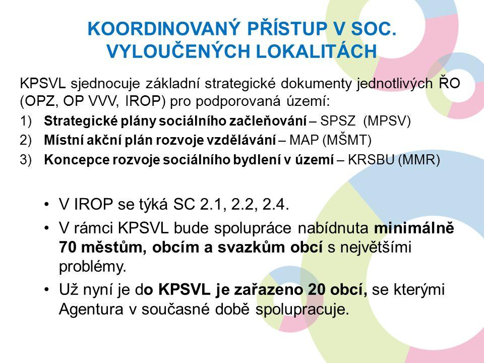 KPSVL sjednocuje základní strategické dokumenty jednotlivých ŘO (OPZ, OP VVV, IROP) pro podporovaná území: 1)Strategické plány sociálního začleňování – SPSZ (MPSV) 2)Místní akční plán rozvoje vzdělávání – MAP (MŠMT) 3)Koncepce rozvoje sociálního bydlení v území – KRSBU (MMR) V IROP se týká SC 2.1, 2.2, 2.4.