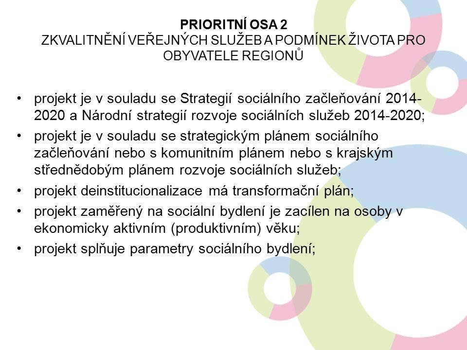 projekt je v souladu se Strategií sociálního začleňování 2014- 2020 a Národní strategií rozvoje sociálních služeb 2014-2020; projekt je v souladu se strategickým plánem sociálního začleňování nebo s komunitním plánem nebo s krajským střednědobým plánem rozvoje sociálních služeb; projekt deinstitucionalizace má transformační plán; projekt zaměřený na sociální bydlení je zacílen na osoby v ekonomicky aktivním (produktivním) věku; projekt splňuje parametry sociálního bydlení; PRIORITNÍ OSA 2 ZKVALITNĚNÍ VEŘEJNÝCH SLUŽEB A PODMÍNEK ŽIVOTA PRO OBYVATELE REGIONŮ