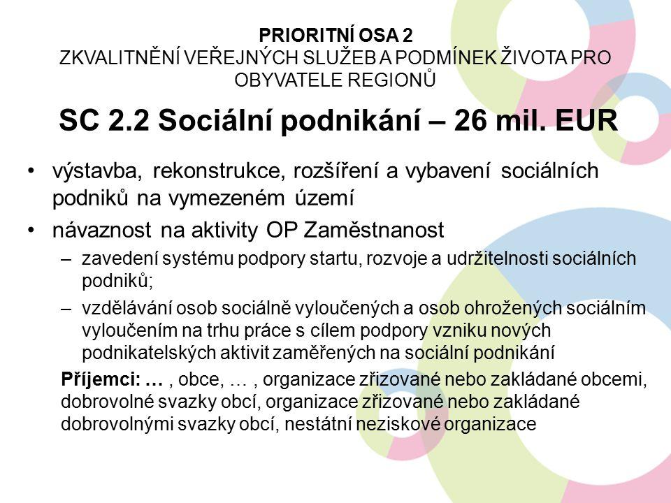 SC 2.2 Sociální podnikání – 26 mil. EUR výstavba, rekonstrukce, rozšíření a vybavení sociálních podniků na vymezeném území návaznost na aktivity OP Za