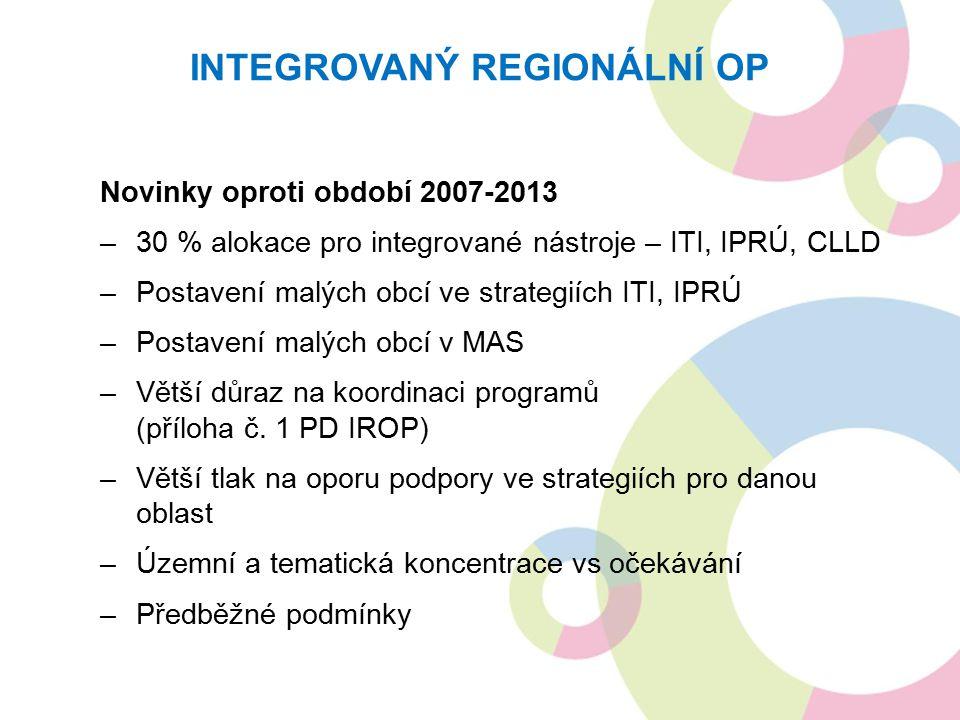 Novinky oproti období 2007-2013 –30 % alokace pro integrované nástroje – ITI, IPRÚ, CLLD –Postavení malých obcí ve strategiích ITI, IPRÚ –Postavení malých obcí v MAS –Větší důraz na koordinaci programů (příloha č.