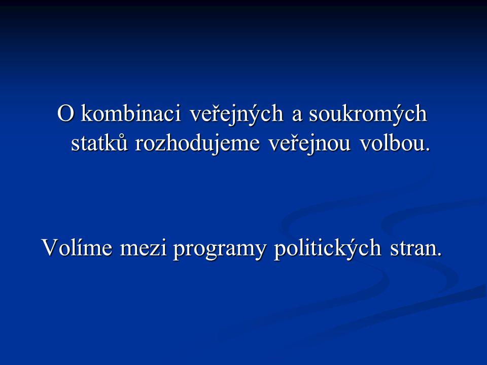 O kombinaci veřejných a soukromých statků rozhodujeme veřejnou volbou.
