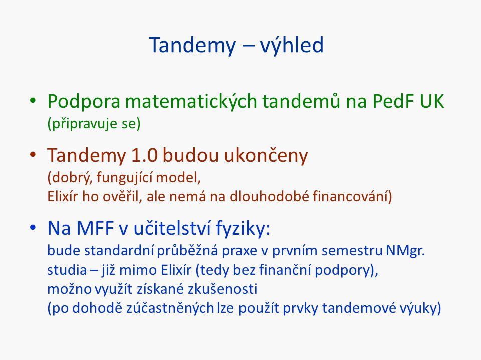 Tandemy – výhled Podpora matematických tandemů na PedF UK (připravuje se) Tandemy 1.0 budou ukončeny (dobrý, fungující model, Elixír ho ověřil, ale ne