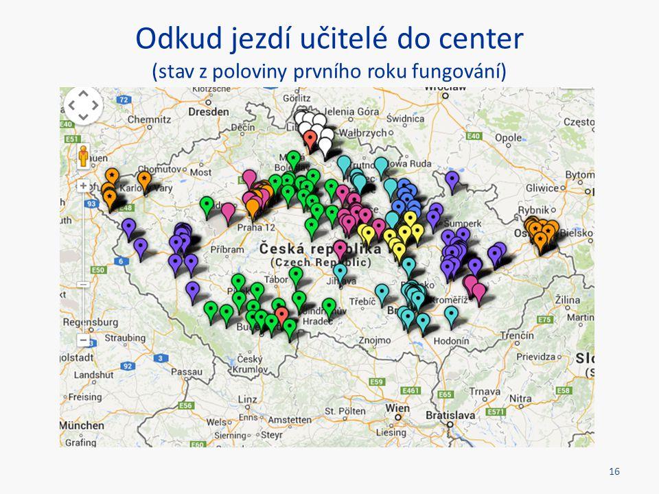 Odkud jezdí učitelé do center (stav z poloviny prvního roku fungování) 16