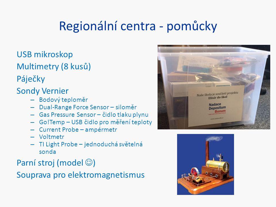 Regionální centra - pomůcky USB mikroskop Multimetry (8 kusů) Páječky Sondy Vernier – Bodový teploměr – Dual-Range Force Sensor – siloměr – Gas Pressu