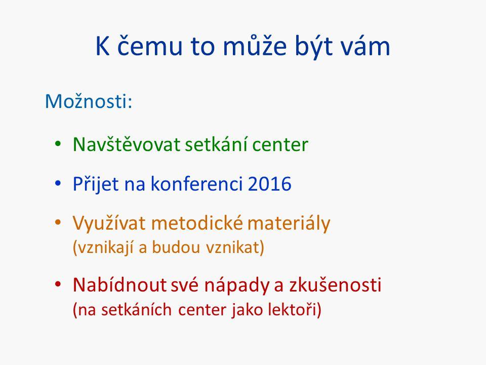 K čemu to může být vám Možnosti: Navštěvovat setkání center Přijet na konferenci 2016 Využívat metodické materiály (vznikají a budou vznikat) Nabídnou