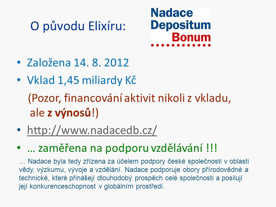 O původu Elixíru: Založena 14. 8. 2012 Vklad 1,45 miliardy Kč (Pozor, financování aktivit nikoli z vkladu, ale z výnosů!) http://www.nadacedb.cz/ … za