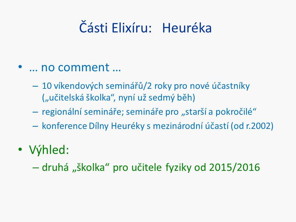 """Části Elixíru: Heuréka … no comment … – 10 víkendových seminářů/2 roky pro nové účastníky (""""učitelská školka"""", nyní už sedmý běh) – regionální seminář"""
