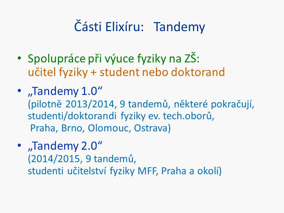 """Části Elixíru: Tandemy Spolupráce při výuce fyziky na ZŠ: učitel fyziky + student nebo doktorand """"Tandemy 1.0"""" (pilotně 2013/2014, 9 tandemů, některé"""