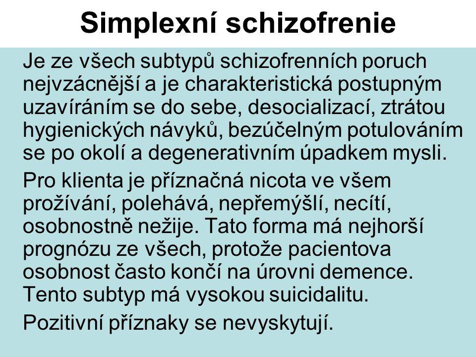 Simplexní schizofrenie Je ze všech subtypů schizofrenních poruch nejvzácnější a je charakteristická postupným uzavíráním se do sebe, desocializací, ztrátou hygienických návyků, bezúčelným potulováním se po okolí a degenerativním úpadkem mysli.