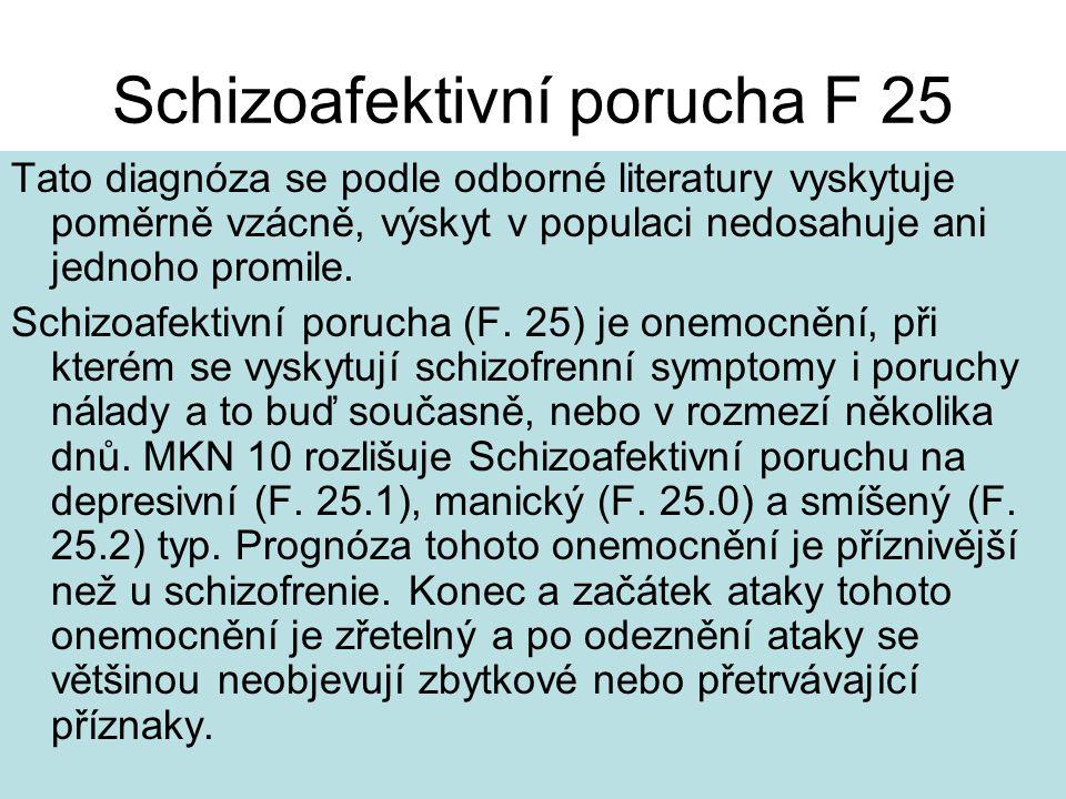 Schizoafektivní porucha F 25 Tato diagnóza se podle odborné literatury vyskytuje poměrně vzácně, výskyt v populaci nedosahuje ani jednoho promile.