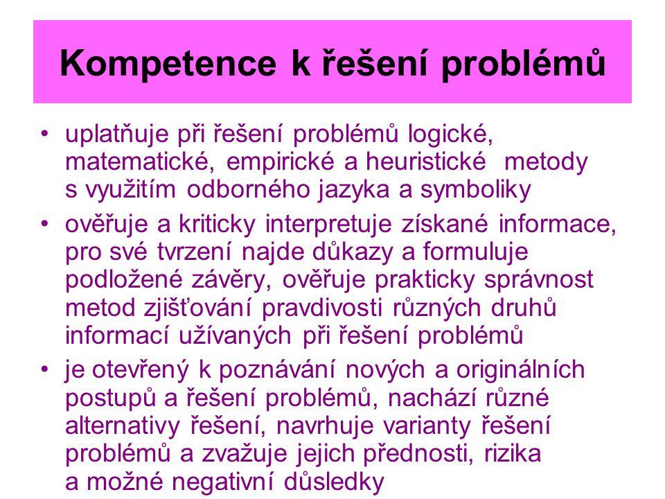 Kompetence k řešení problémů uplatňuje při řešení problémů logické, matematické, empirické a heuristické metody s využitím odborného jazyka a symbolik