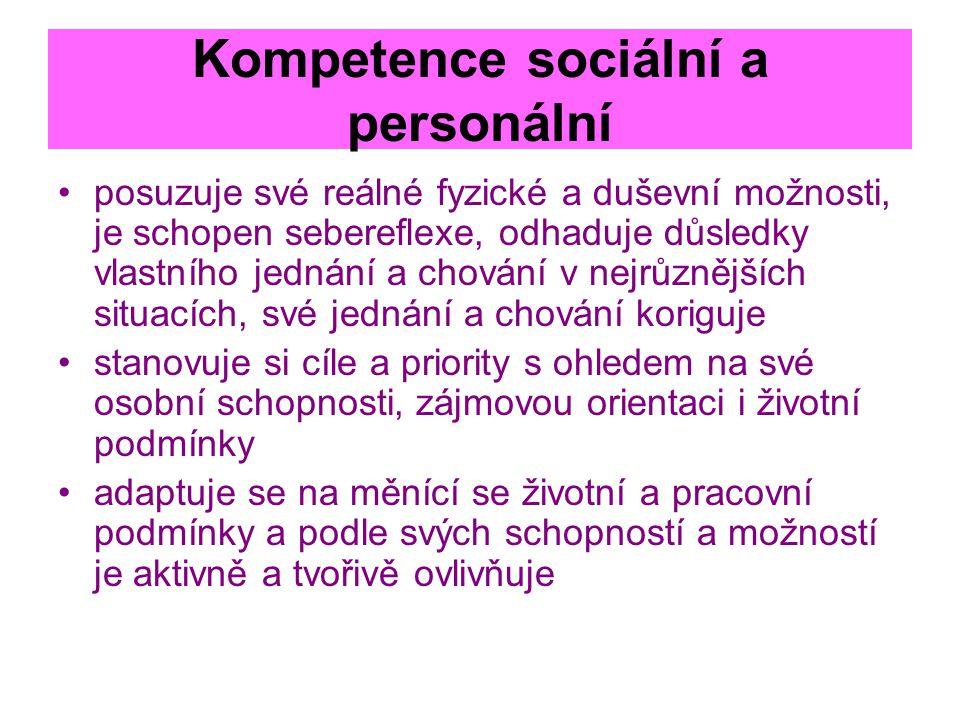 Kompetence sociální a personální posuzuje své reálné fyzické a duševní možnosti, je schopen sebereflexe, odhaduje důsledky vlastního jednání a chování