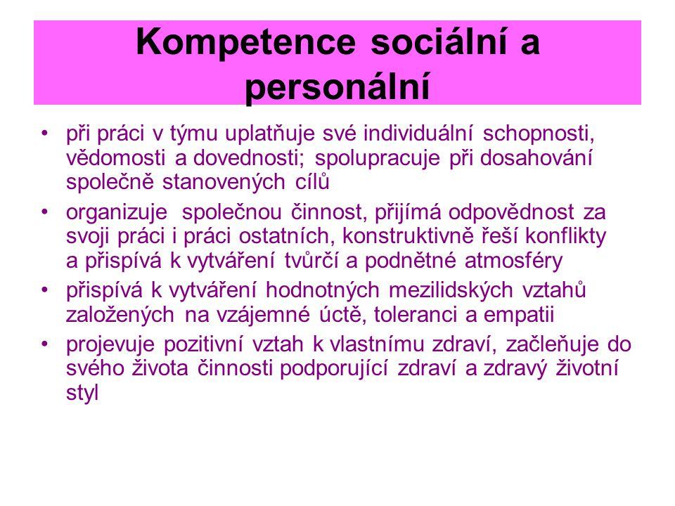 Kompetence sociální a personální při práci v týmu uplatňuje své individuální schopnosti, vědomosti a dovednosti; spolupracuje při dosahování společně