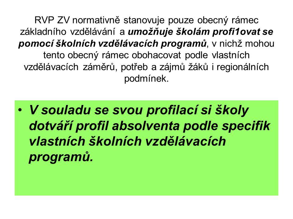 RVP ZV normativně stanovuje pouze obecný rámec základního vzdělávání a umožňuje školám profi1ovat se pomocí školních vzdělávacích programů, v nichž mo