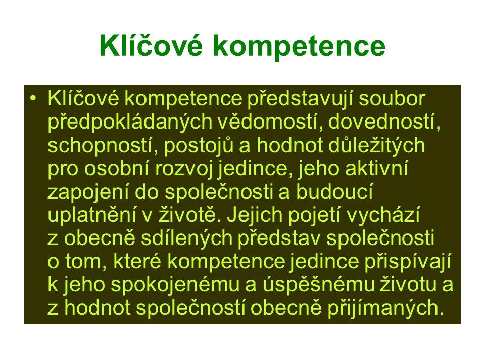 Klíčové kompetence Klíčové kompetence představují soubor předpokládaných vědomostí, dovedností, schopností, postojů a hodnot důležitých pro osobní roz