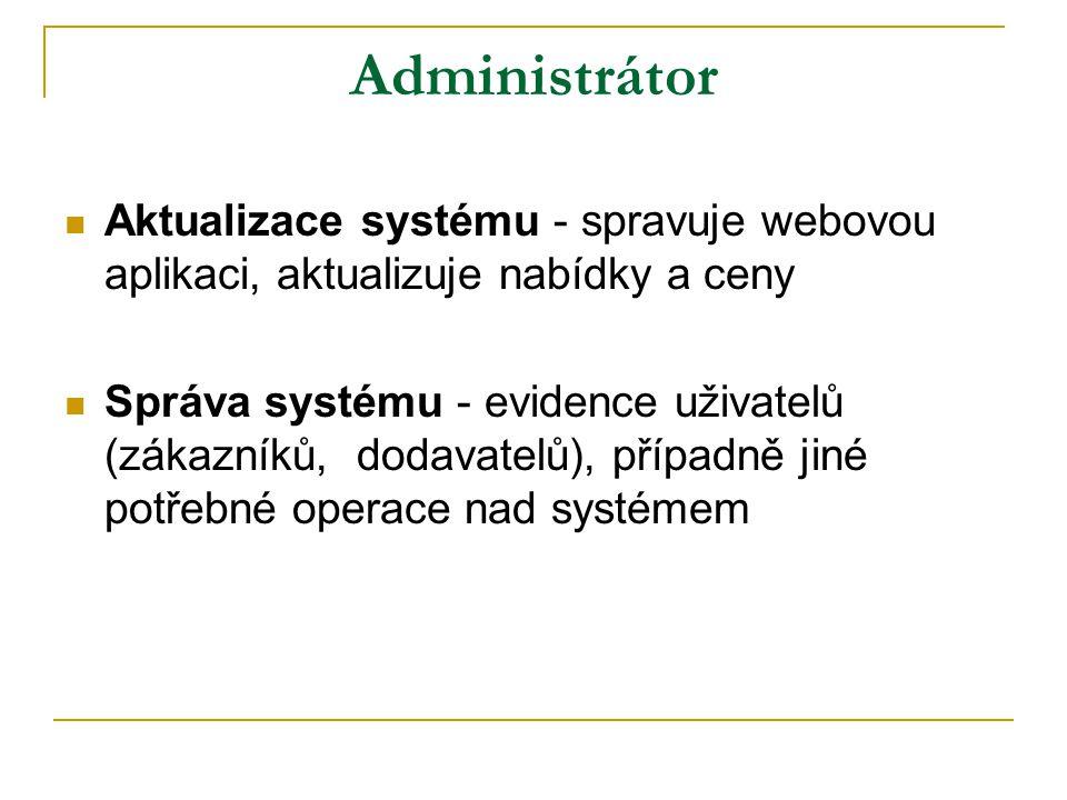 Administrátor Aktualizace systému - spravuje webovou aplikaci, aktualizuje nabídky a ceny Správa systému - evidence uživatelů (zákazníků, dodavatelů), případně jiné potřebné operace nad systémem