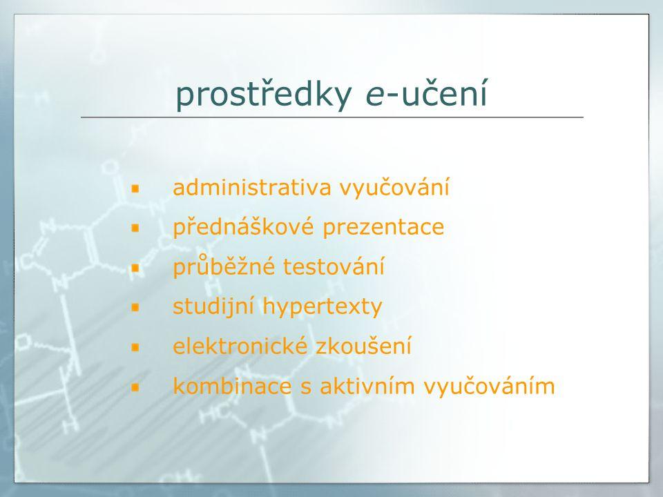 prostředky e-učení administrativa vyučování přednáškové prezentace průběžné testování studijní hypertexty elektronické zkoušení kombinace s aktivním vyučováním