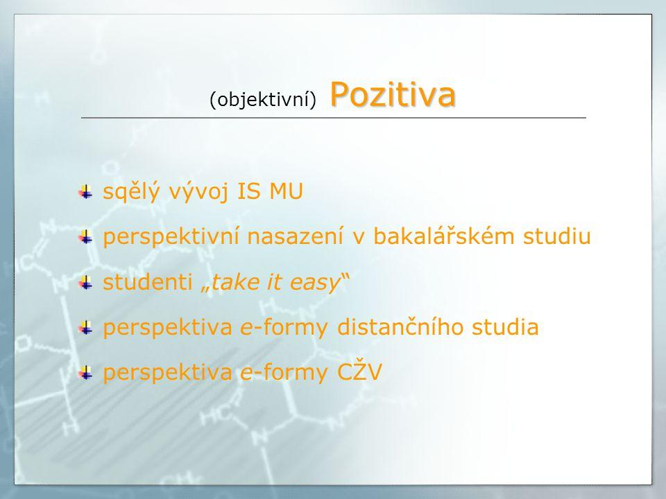 """Pozitiva (objektivní) Pozitiva sqělý vývoj IS MU perspektivní nasazení v bakalářském studiu studenti """"take it easy perspektiva e-formy distančního studia perspektiva e-formy CŽV"""