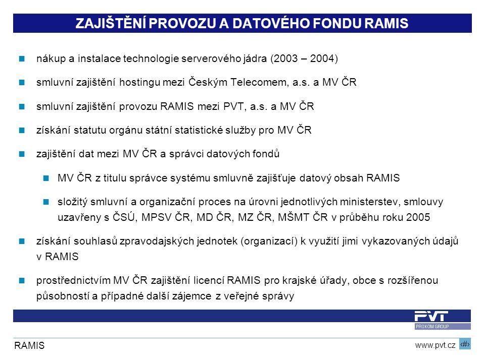 4 www.pvt.cz RAMIS ZAJIŠTĚNÍ PROVOZU A DATOVÉHO FONDU RAMIS nákup a instalace technologie serverového jádra (2003 – 2004) smluvní zajištění hostingu mezi Českým Telecomem, a.s.