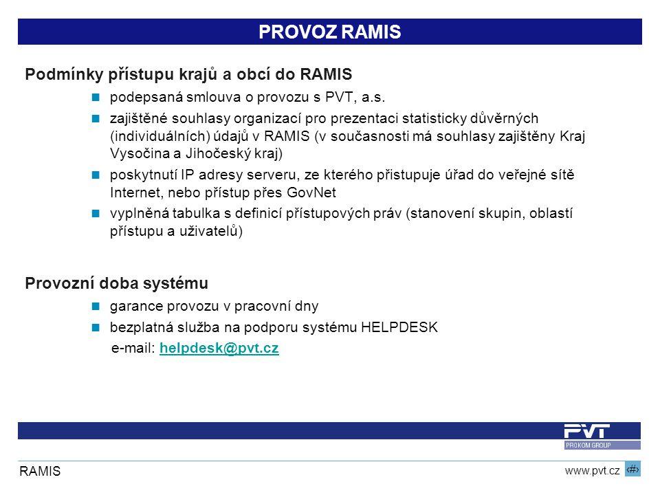 6 www.pvt.cz RAMIS PROVOZ RAMIS Podmínky přístupu krajů a obcí do RAMIS podepsaná smlouva o provozu s PVT, a.s.