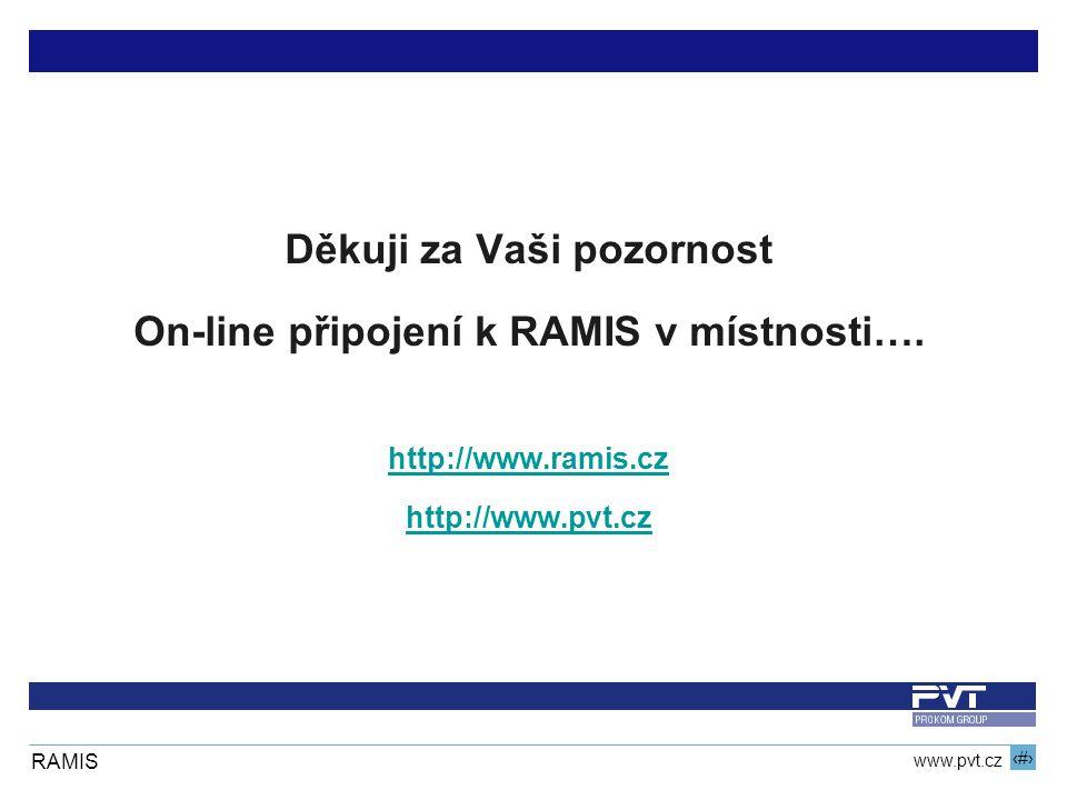 9 www.pvt.cz RAMIS Děkuji za Vaši pozornost On-line připojení k RAMIS v místnosti….
