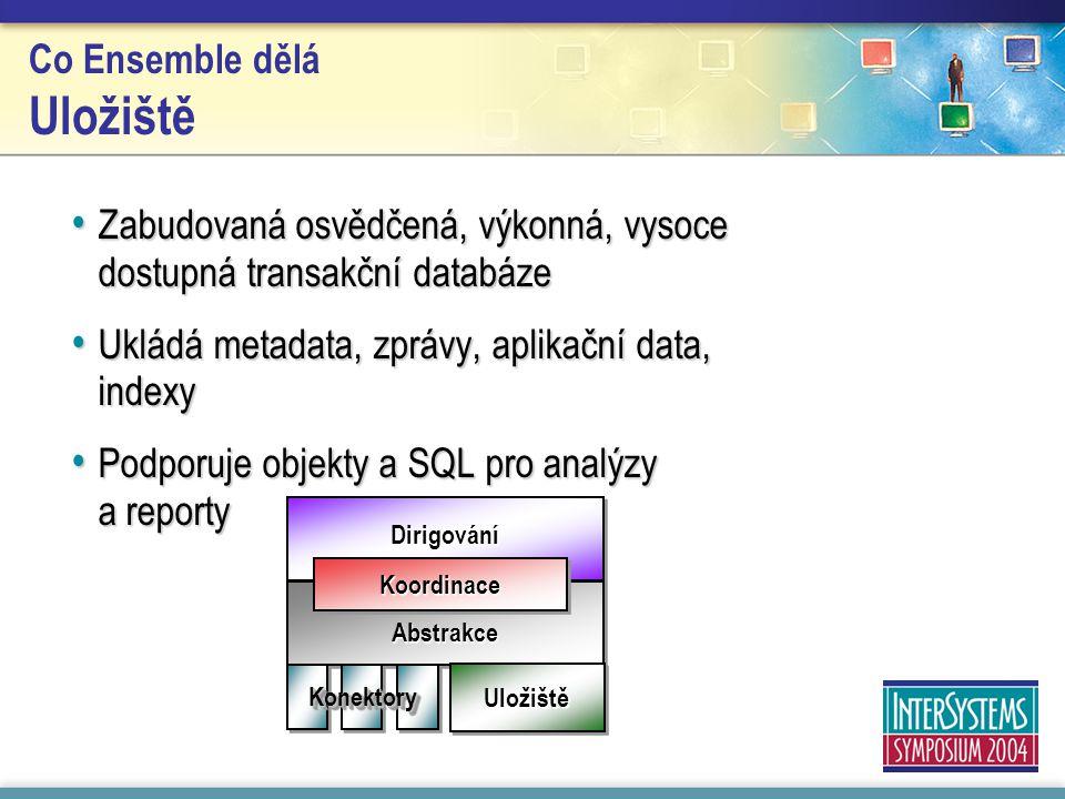 DirigováníDirigování Abstrakce KoordinaceKoordinace UložištěUložiště KonektoryKonektory Co Ensemble dělá Uložiště Zabudovaná osvědčená, výkonná, vysoce dostupná transakční databáze Zabudovaná osvědčená, výkonná, vysoce dostupná transakční databáze Ukládá metadata, zprávy, aplikační data, indexy Ukládá metadata, zprávy, aplikační data, indexy Podporuje objekty a SQL pro analýzy a reporty Podporuje objekty a SQL pro analýzy a reporty