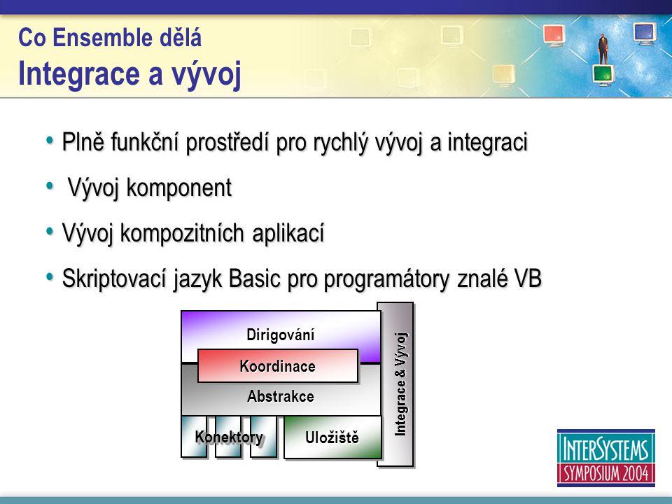 Integrace & Vývoj DirigováníDirigování Abstrakce KoordinaceKoordinace UložištěUložiště KonektoryKonektory Co Ensemble dělá Integrace a vývoj Plně funkční prostředí pro rychlý vývoj a integraci Plně funkční prostředí pro rychlý vývoj a integraci Vývoj komponent Vývoj komponent Vývoj kompozitních aplikací Vývoj kompozitních aplikací Skriptovací jazyk Basic pro programátory znalé VB Skriptovací jazyk Basic pro programátory znalé VB