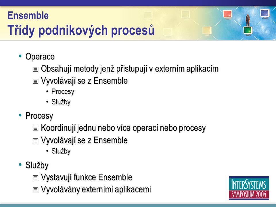 Ensemble Třídy podnikových procesů Operace Operace  Obsahují metody jenž přistupují v externím aplikacím  Vyvolávají se z Ensemble ProcesyProcesy SlužbySlužby Procesy Procesy  Koordinují jednu nebo více operací nebo procesy  Vyvolávají se z Ensemble SlužbySlužby  Vystavují funkce Ensemble  Vyvolávány externími aplikacemi