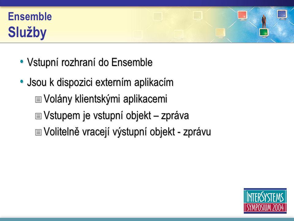 Ensemble Služby Vstupní rozhraní do Ensemble Vstupní rozhraní do Ensemble Jsou k dispozici externím aplikacím Jsou k dispozici externím aplikacím  Volány klientskými aplikacemi  Vstupem je vstupní objekt – zpráva  Volitelně vracejí výstupní objekt - zprávu