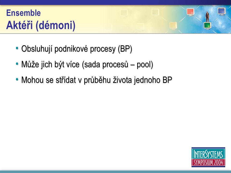 Ensemble Aktéři (démoni) Obsluhují podnikové procesy (BP) Obsluhují podnikové procesy (BP) Může jich být více (sada procesů – pool) Může jich být více (sada procesů – pool) Mohou se střídat v průběhu života jednoho BP Mohou se střídat v průběhu života jednoho BP