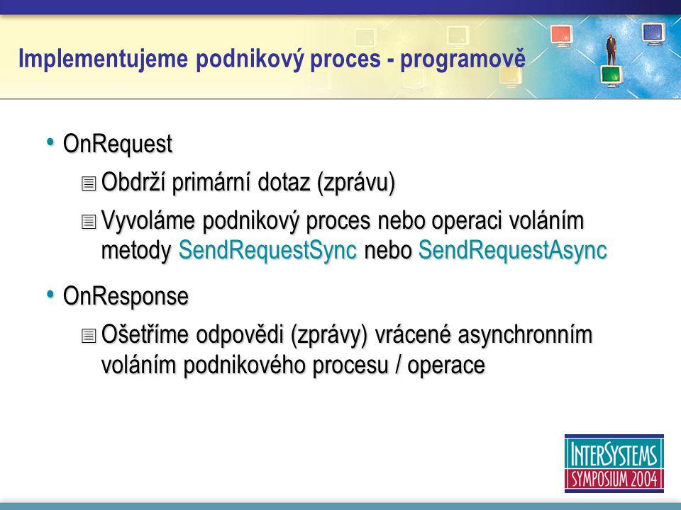 Implementujeme podnikový proces - programově OnRequest OnRequest  Obdrží primární dotaz (zprávu)  Vyvoláme podnikový proces nebo operaci voláním metody SendRequestSync nebo SendRequestAsync OnResponse OnResponse  Ošetříme odpovědi (zprávy) vrácené asynchronním voláním podnikového procesu / operace