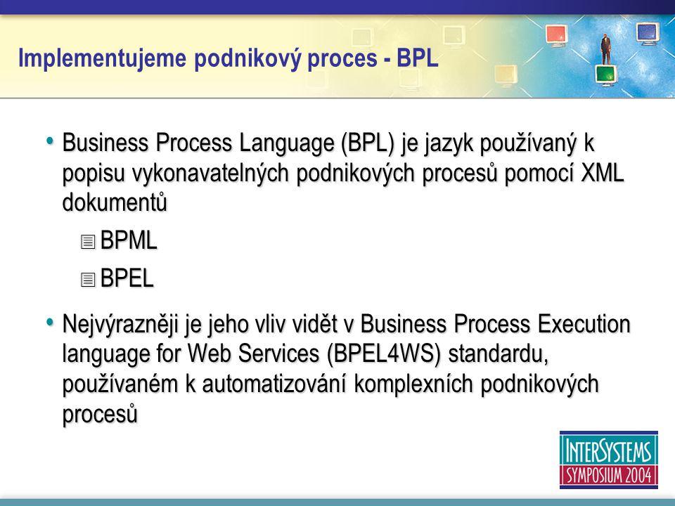 Implementujeme podnikový proces - BPL Business Process Language (BPL) je jazyk používaný k popisu vykonavatelných podnikových procesů pomocí XML dokumentů Business Process Language (BPL) je jazyk používaný k popisu vykonavatelných podnikových procesů pomocí XML dokumentů  BPML  BPEL Nejvýrazněji je jeho vliv vidět v Business Process Execution language for Web Services (BPEL4WS) standardu, používaném k automatizování komplexních podnikových procesů Nejvýrazněji je jeho vliv vidět v Business Process Execution language for Web Services (BPEL4WS) standardu, používaném k automatizování komplexních podnikových procesů