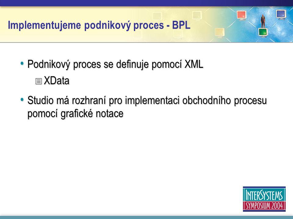 Implementujeme podnikový proces - BPL Podnikový proces se definuje pomocí XML Podnikový proces se definuje pomocí XML  XData Studio má rozhraní pro implementaci obchodního procesu pomocí grafické notace Studio má rozhraní pro implementaci obchodního procesu pomocí grafické notace