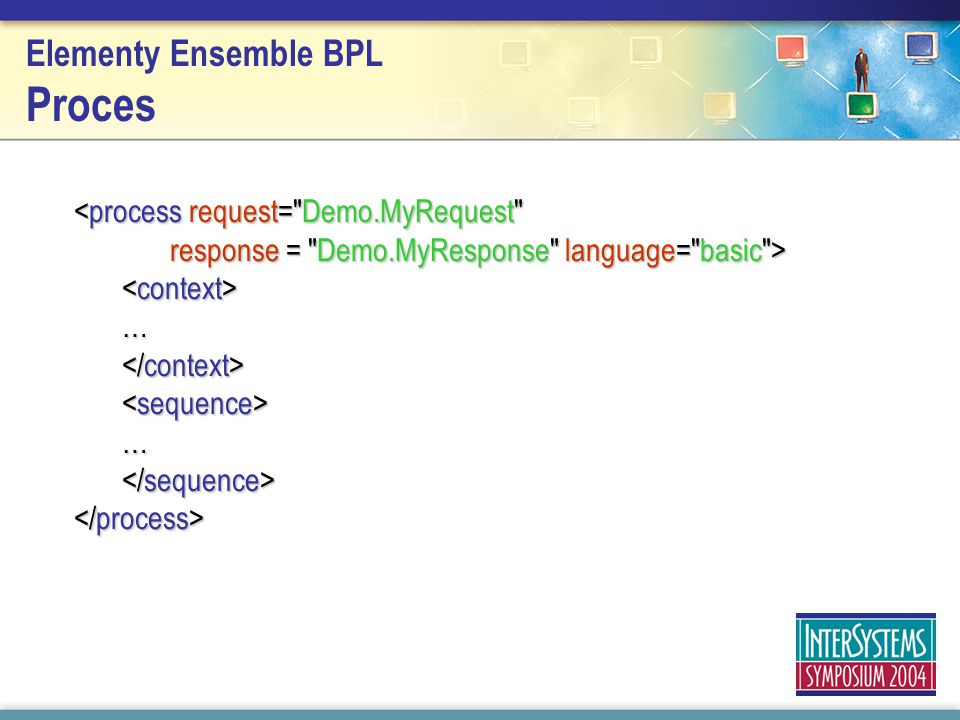 <process request= Demo.MyRequest response = Demo.MyResponse language= basic > … … Elementy Ensemble BPL Proces