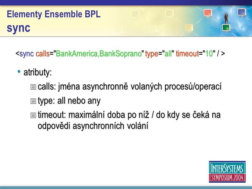 Elementy Ensemble BPL sync atributy: atributy:  calls: jména asynchronně volaných procesů/operací  type: all nebo any  timeout: maximální doba po níž / do kdy se čeká na odpovědi asynchronních volání