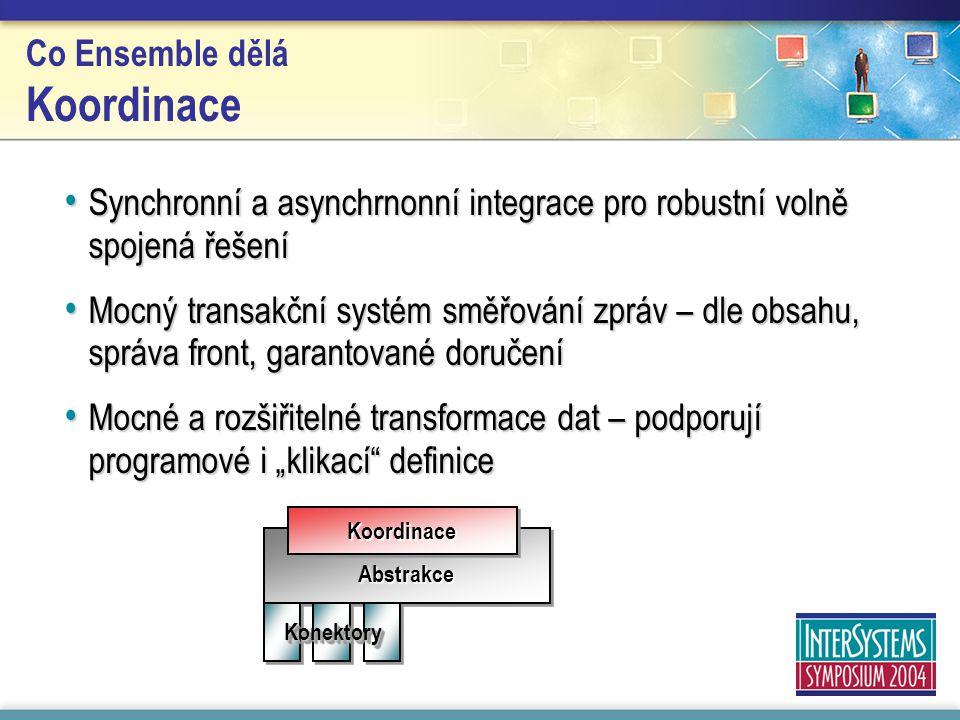 """Abstrakce KoordinaceKoordinace KonektoryKonektory Co Ensemble dělá Koordinace Synchronní a asynchrnonní integrace pro robustní volně spojená řešení Synchronní a asynchrnonní integrace pro robustní volně spojená řešení Mocný transakční systém směřování zpráv – dle obsahu, správa front, garantované doručení Mocný transakční systém směřování zpráv – dle obsahu, správa front, garantované doručení Mocné a rozšiřitelné transformace dat – podporují programové i """"klikací definice Mocné a rozšiřitelné transformace dat – podporují programové i """"klikací definice"""