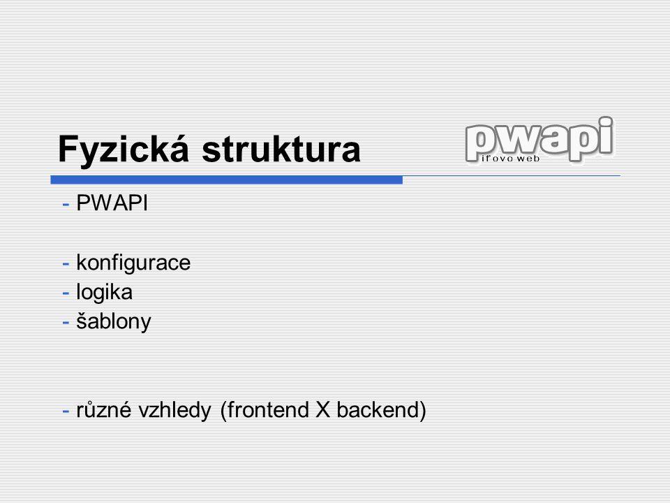 Fyzická struktura - PWAPI - konfigurace - logika - šablony - různé vzhledy (frontend X backend)